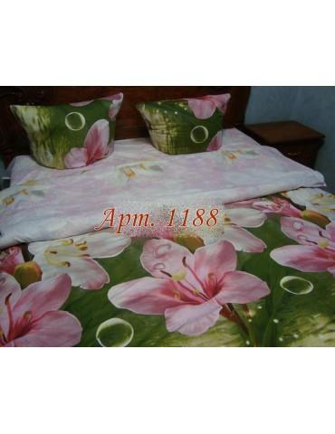 Полуторный комплект постельного, ранфорс, рисунок 3Д, 100% хлопок, Арт. 1188