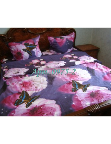 Полуторный комплект постельного, ранфорс, рисунок 3Д, 100% хлопок, Арт. 0975-2