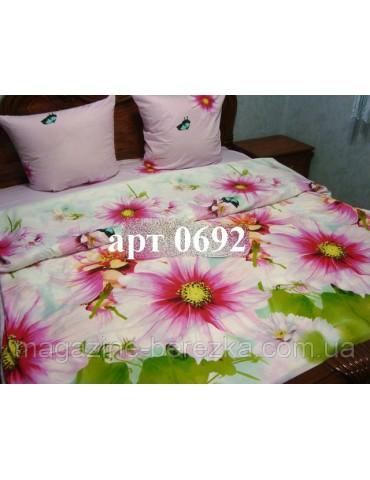 Полуторный комплект постельного, ранфорс, рисунок 3Д, 100% хлопок, Арт. 0692