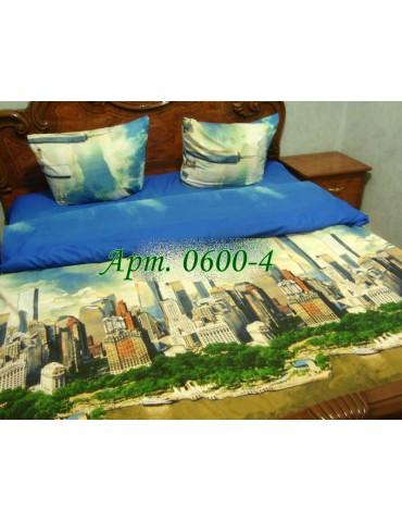 Полуторный комплект постельного, ранфорс, рисунок 3Д, 100% хлопок, Арт. 0600-4