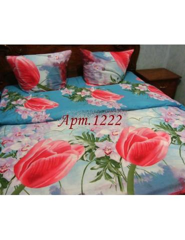 Семейный комплект постельного белья из ранфорса, рисунок 3Д, 100% хлопок, Арт.1222