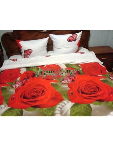 Семейный комплект постельного белья из ранфорса, рисунок 3Д, 100% хлопок, Арт.997