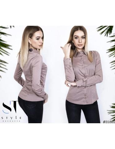 Классическая коттоновая рубашка женская р. 42-48 Арт. 31602 Бежевая