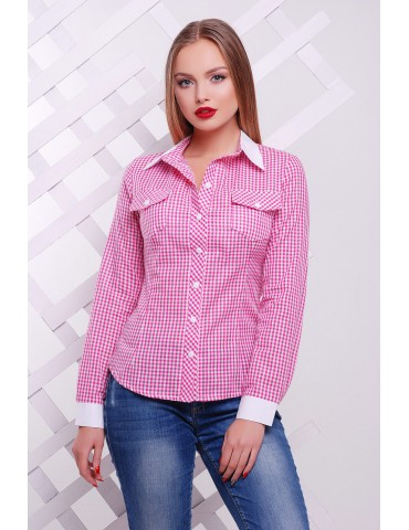 Рубашка в клетку Техас д/р, розовая размер XL