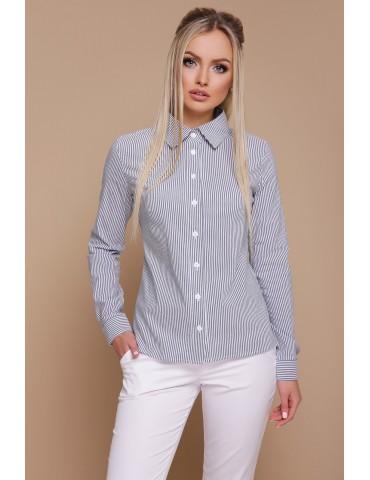 Приталенная женская рубашка в МЕЛКУЮ серую полоску Рубьера, размер S, M, L