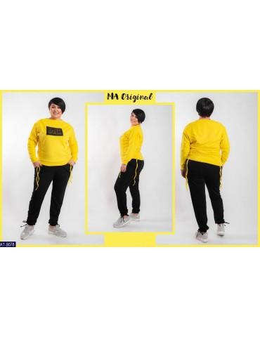 Спортивный костюм с нашивкой на груди р. 42-46 желтый