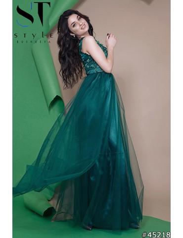 """Атласное вечернее платье в пол """"Софья"""" Арт. 45218 Бутылочное"""