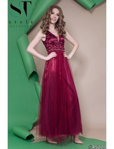 """Атласное вечернее платье в пол """"Софья"""" Арт. 45221 Марсала"""