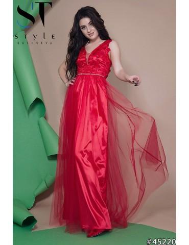"""Атласное вечернее платье в пол """"Софья"""" Арт. 45220 Красное"""
